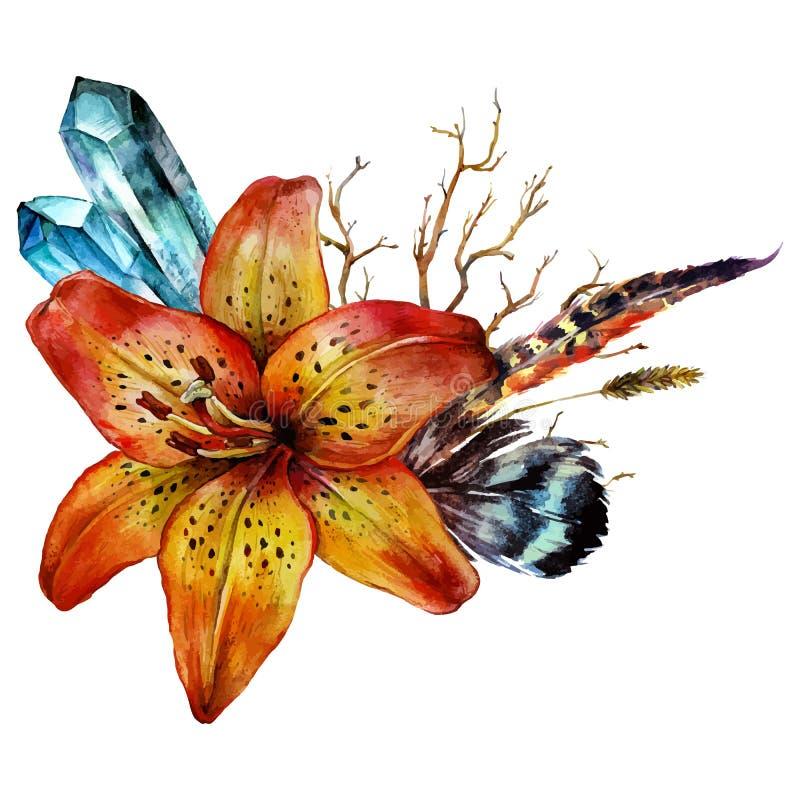 Aquarell-Tigerlilie stock abbildung