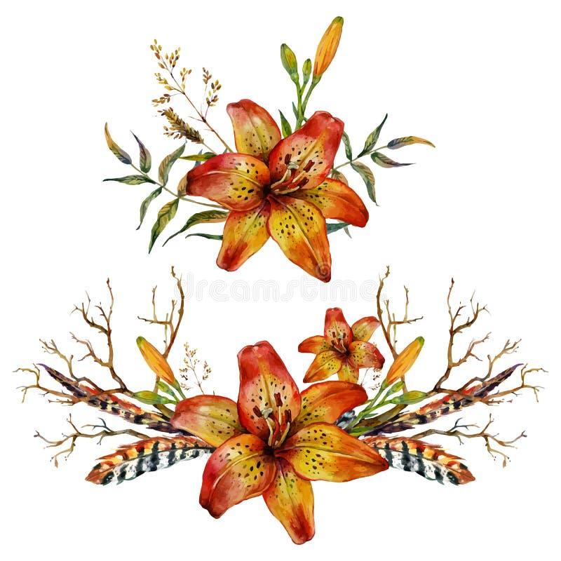 Aquarell-Tigerlilie lizenzfreie abbildung