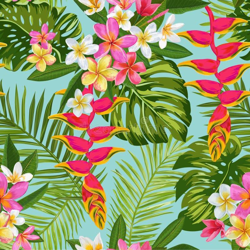 Aquarell-tropische Blumen und Palmblatt-nahtloses Muster Blumenhand gezeichneter Hintergrund Blühende Plumeriablumen stock abbildung