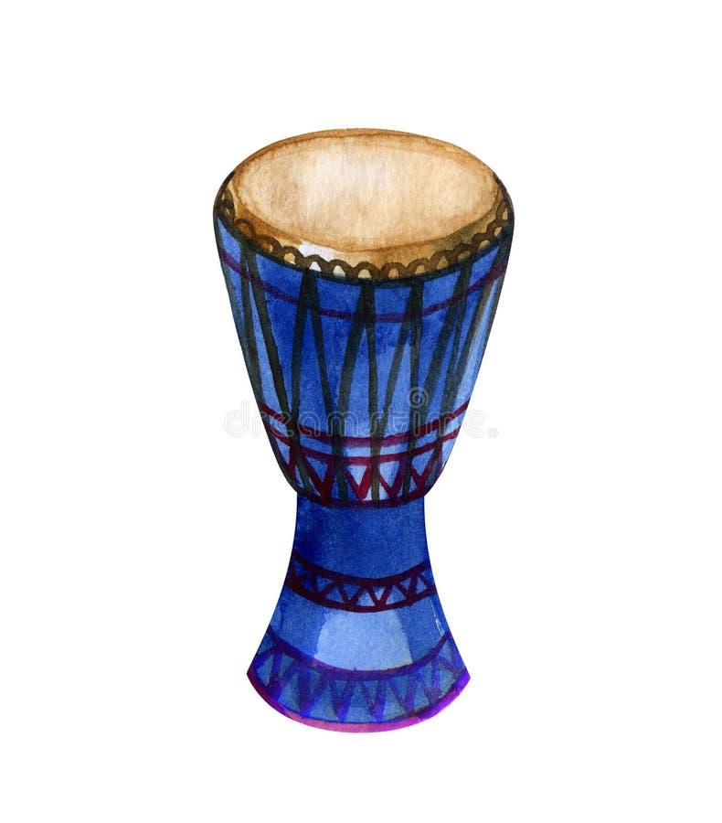 Aquarell ursprüngliche afrikanische djembe Trommel auf weißem Hintergrund lizenzfreie abbildung