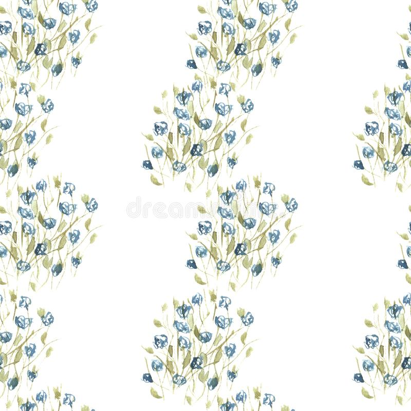 Aquarell versieht Muster von blauen Wildflowers mit einem Band stockfotos