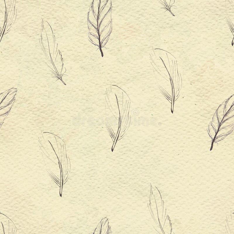 Aquarell versieht nahtloses Muster mit Federn Handgemalte Beschaffenheit stock abbildung