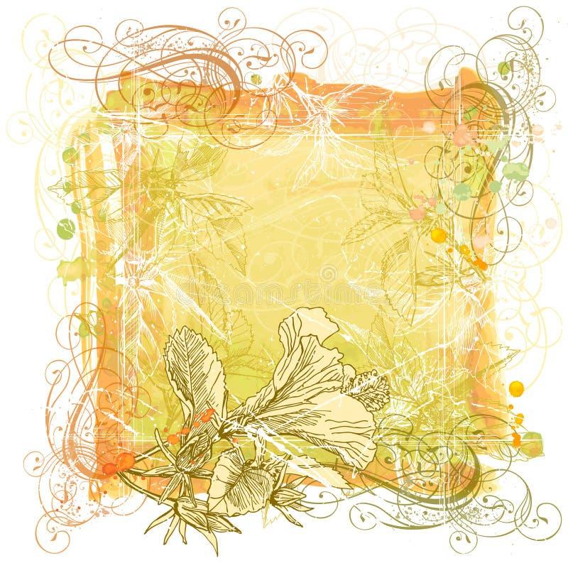 Aquarell, Verzierung u. Blumen lizenzfreie abbildung