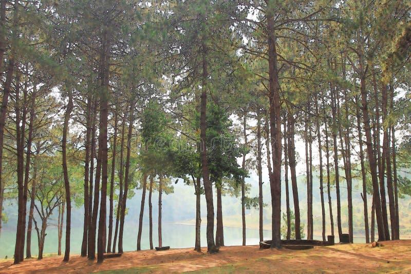 Aquarell von Kiefern neben einem See lizenzfreies stockbild