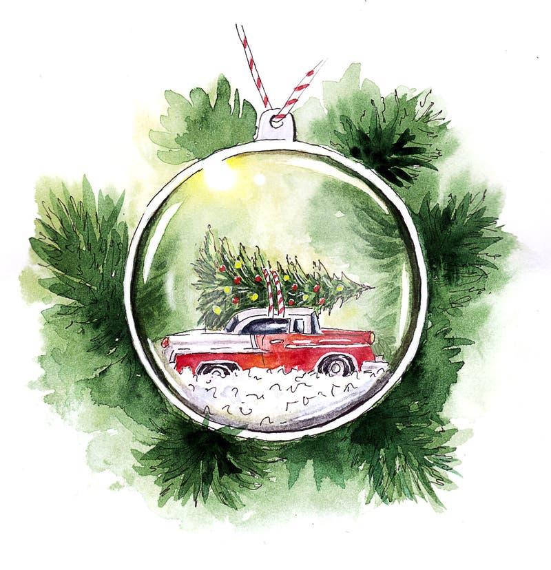 Aquarell-Weihnachten-card_ Glas Weihnachtsbaumspielzeug lizenzfreie abbildung