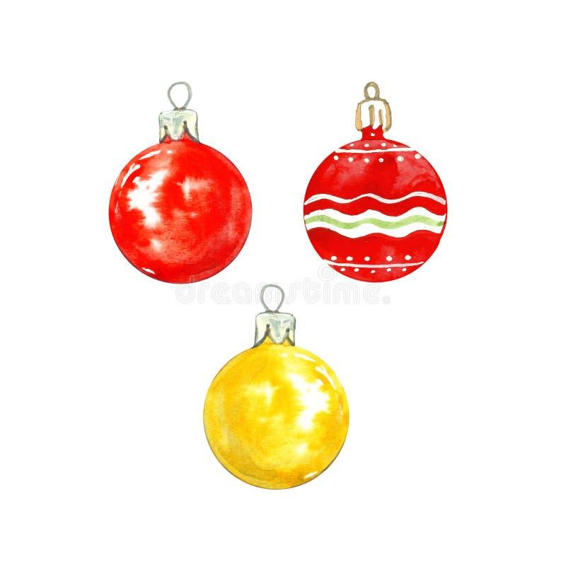 Aquarell-Weihnachten eingestellt mit dem sortierten Glasflitter lokalisiert auf weißem Hintergrund Festliche Weihnachtsbaumdekora lizenzfreie stockbilder
