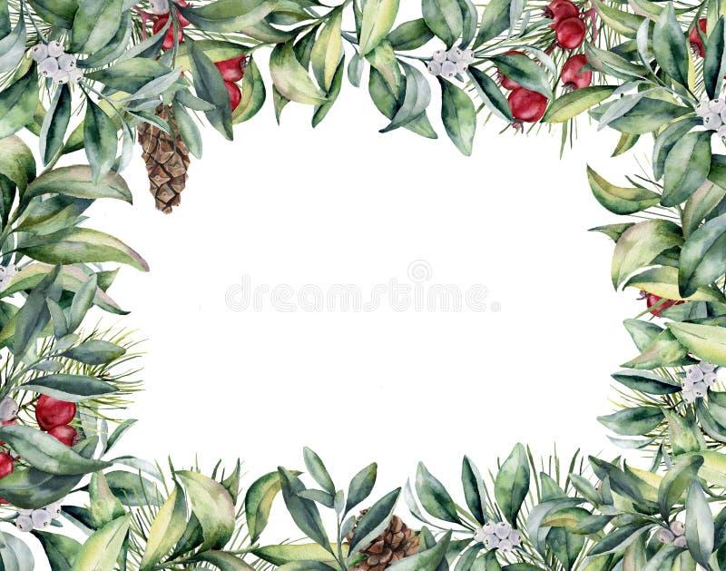 Aquarell-Weihnachtsblumenkarte Handgemalte Winteranlage und stock abbildung
