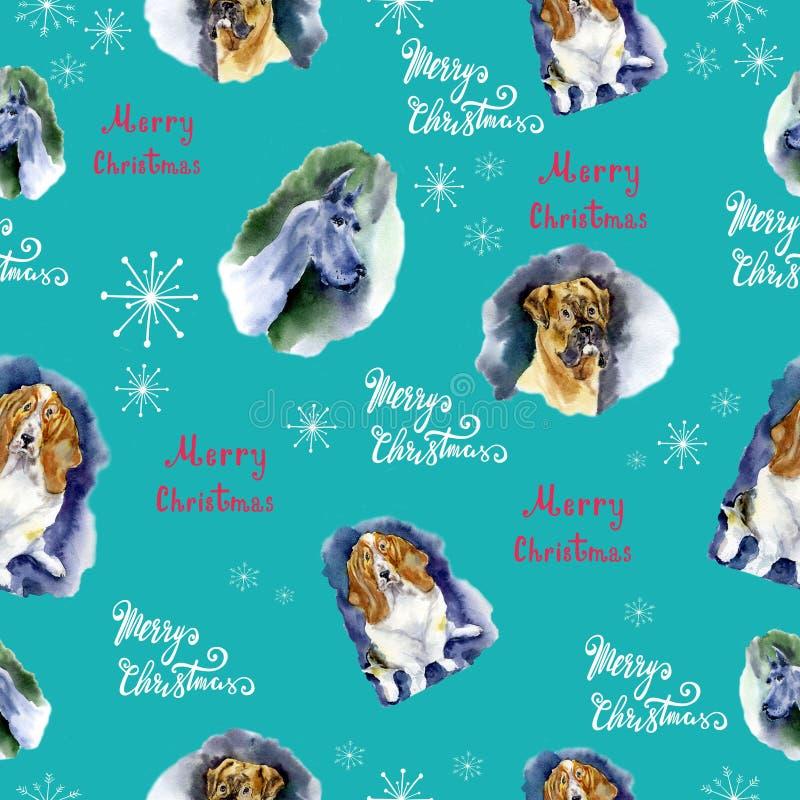 Aquarell-Weihnachtsnahtloses Muster mit Hundemuster Übergeben Sie gezogene Illustrationen von Hunden auf einem blauen Hintergrund vektor abbildung