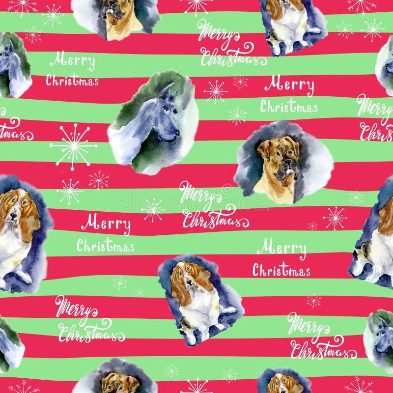 Aquarell-Weihnachtsnahtloses Muster mit Hundemuster Übergeben Sie gezogene Illustrationen von Hunden auf einem gestreiften Hinter lizenzfreie stockfotos
