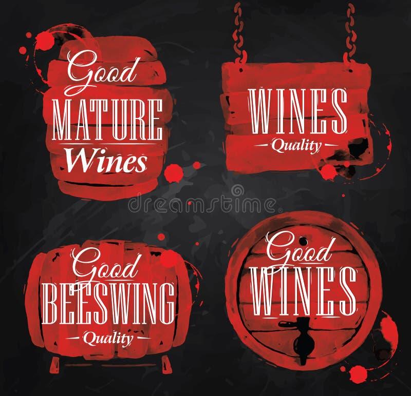 Aquarell-Wein-Tonnekreide stock abbildung