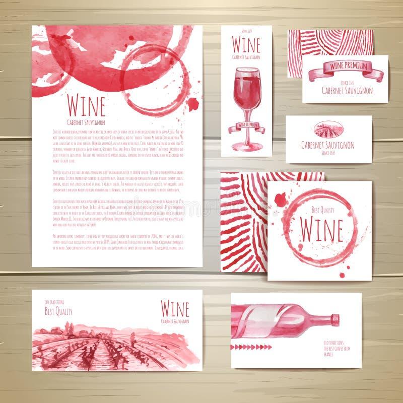 Aquarell-Weinkonzeptdesign stock abbildung