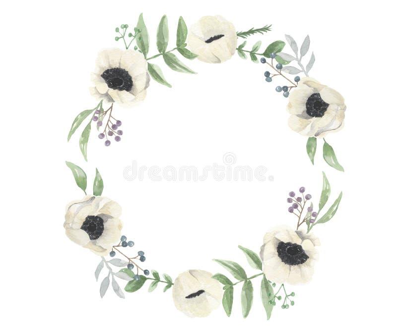 Aquarell-Winter-Weihnachtsbeeren-Blumen-handgemalter Kranz lizenzfreie abbildung