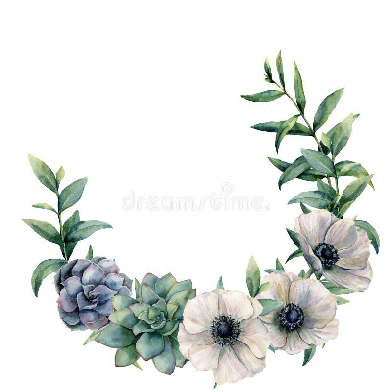 Aquarellanemone und saftiger Kranz Handgemalte weiße, grüne, blaue Blumen und Eukalyptusblätter lokalisiert auf Weiß stock abbildung