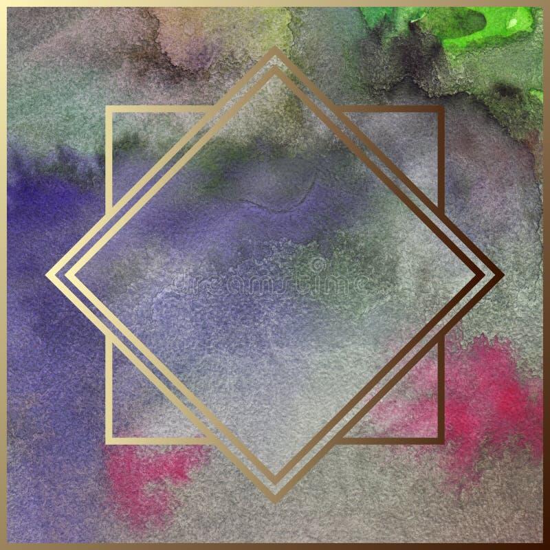 Aquarellart- decogoldene geometrische Metallrahmengrenzretro- Weinlesebeispielzusammenfassungshintergrund-Beschaffenheitsmuster vektor abbildung