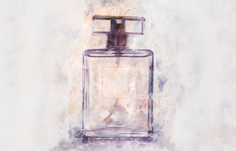 Aquarellart und abstrakte Illustration der Weinleseparfümflasche stock abbildung