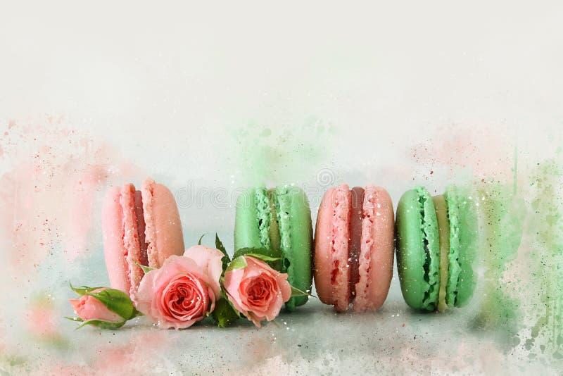 Aquarellart und abstrakte Illustration des romantischen bunten macaron oder der Makrone über Pastellhintergrund lizenzfreie stockfotos