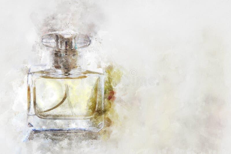 Aquarellart und abstraktes Bild der Weinleseparfümflasche lizenzfreie abbildung