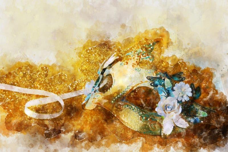 Aquarellart und abstraktes Bild von elegantem venetianischem, Karnevalmaske lizenzfreie stockbilder