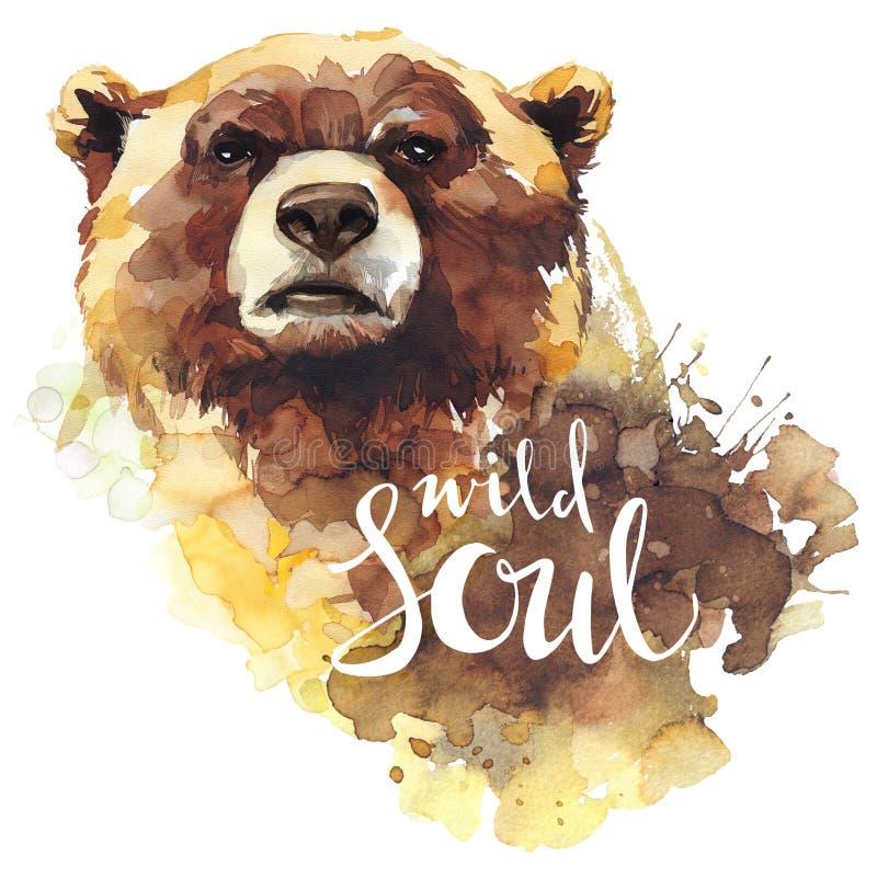 Aquarellbär mit handgeschriebene Wörter wilder Seele Waldtier Kunstillustration der wild lebenden Tiere Kann auf T-Shirts gedruck stock abbildung