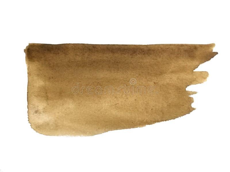 Aquarellb?rstenhand gezeichnet auf braune Papierzusammenfassung lizenzfreie abbildung