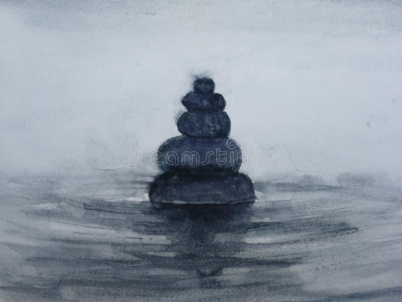 Aquarellbadekurort-Zensteine Hand gezeichnet lizenzfreie abbildung