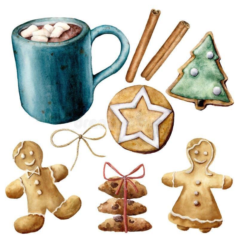 Aquarellbecher mit Kakao und Weihnachtsgebäck Handgemalte Schale Kakao, Eibisch, Plätzchen und Zimtstangen lizenzfreie abbildung