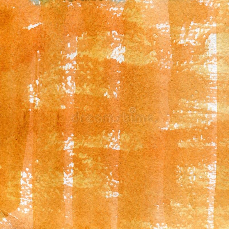 Aquarellbeschaffenheit einer transparenten orange, braunen Farbe Abbildung Abstrakter Hintergrund des Aquarells, Stellen, Unschär stock abbildung