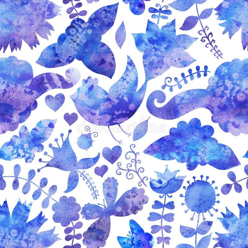 Aquarellbeschaffenheit mit Blumen und Vögeln. Blumenmuster. Ursprung stock abbildung