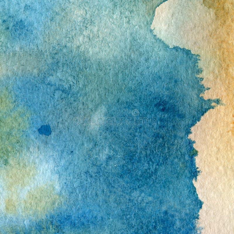 Aquarellbeschaffenheit von transparentem Blauem, orange, gelb, grau Abbildung Abstrakter Hintergrund des Aquarells, Stellen, Unsc stock abbildung
