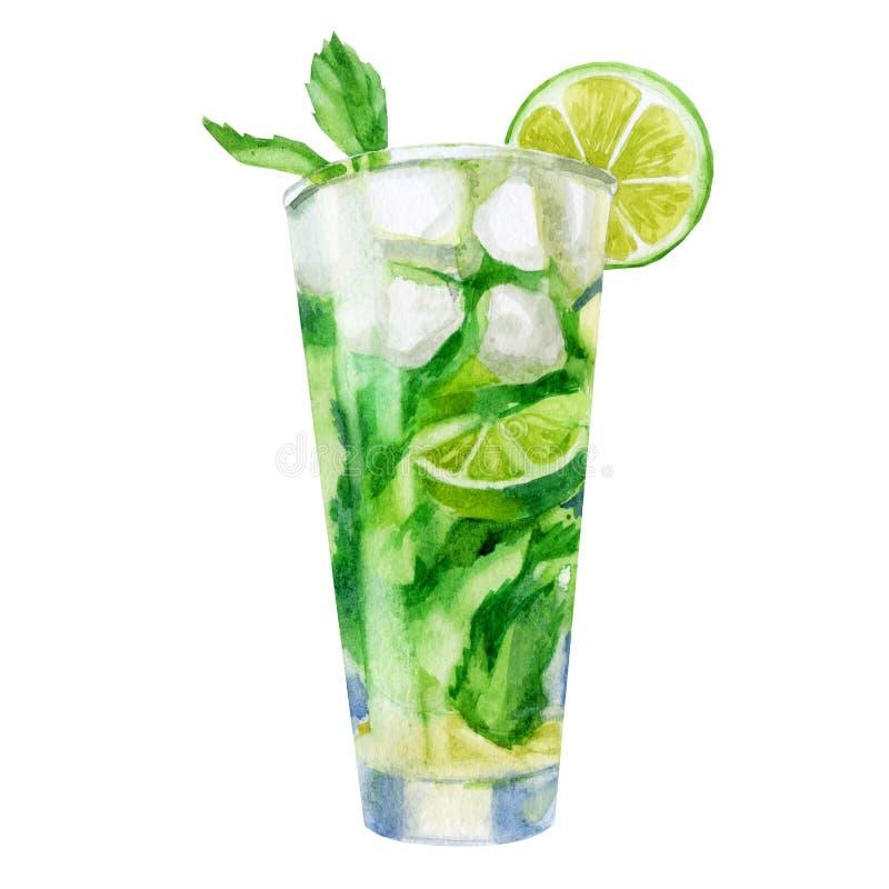 Aquarellbild Ein Glas mit Mojito-Cocktail Minzeblätter, Kalk, Eiswürfel für Getränke, Cocktails vektor abbildung