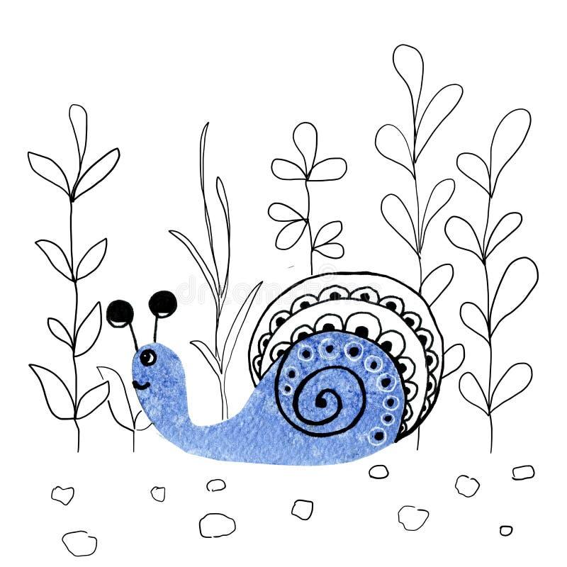 Aquarellbilder mit Cartoon-Schnecke, Muschel Handzeichnung Erzeugnisse, Gewebe, Druck, Kleidung, Textilien, Verpackung, vektor abbildung