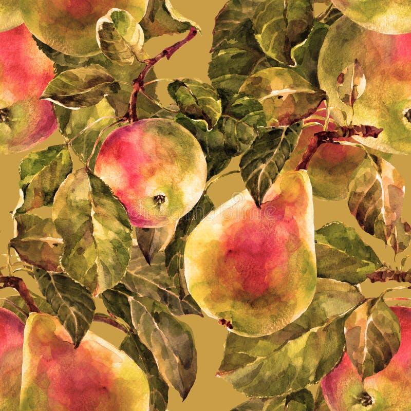 Aquarellbirne mit Apfel Nahtloses mit Blumenmuster Bronzehintergrund vektor abbildung