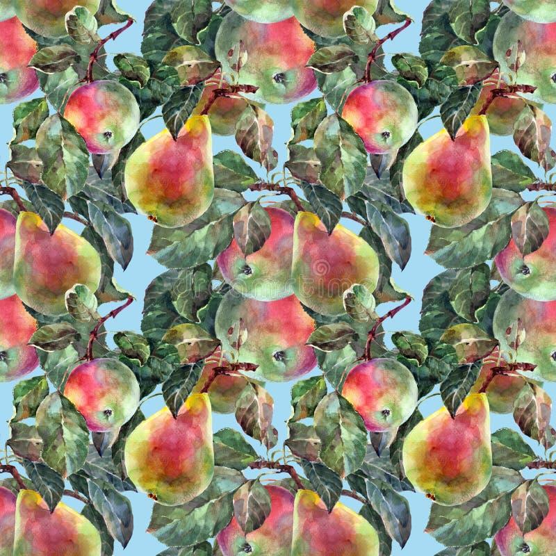 Aquarellbirne mit Apfel Nahtloses mit Blumenmuster Hintergrund für eine Einladungskarte oder einen Glückwunsch vektor abbildung