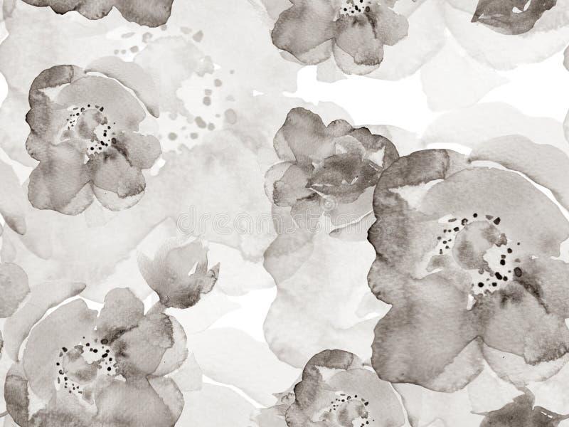 Aquarellblätter Nahtloses Muster stockbilder