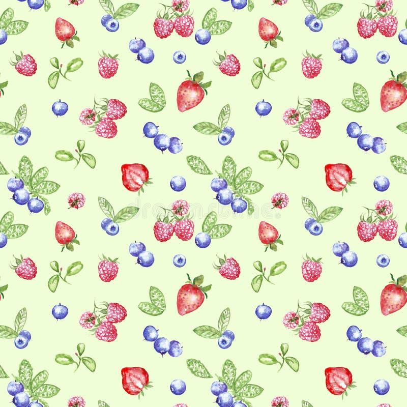 Aquarellblaubeere, Erdbeere und Himbeernahtloses Muster auf grünem Hintergrund stock abbildung