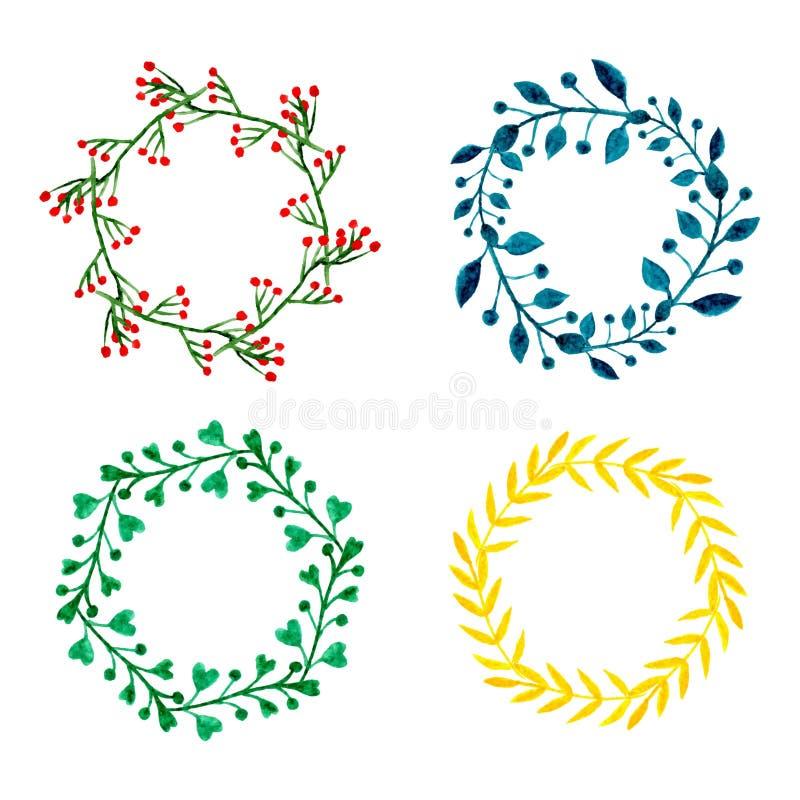 Aquarellblumen-Kranzsatz Runde Rahmenmit blumensammlung Handgemalte Hochzeits- oder Grußkartendekoration Vektor lokalisiertes EL lizenzfreie abbildung
