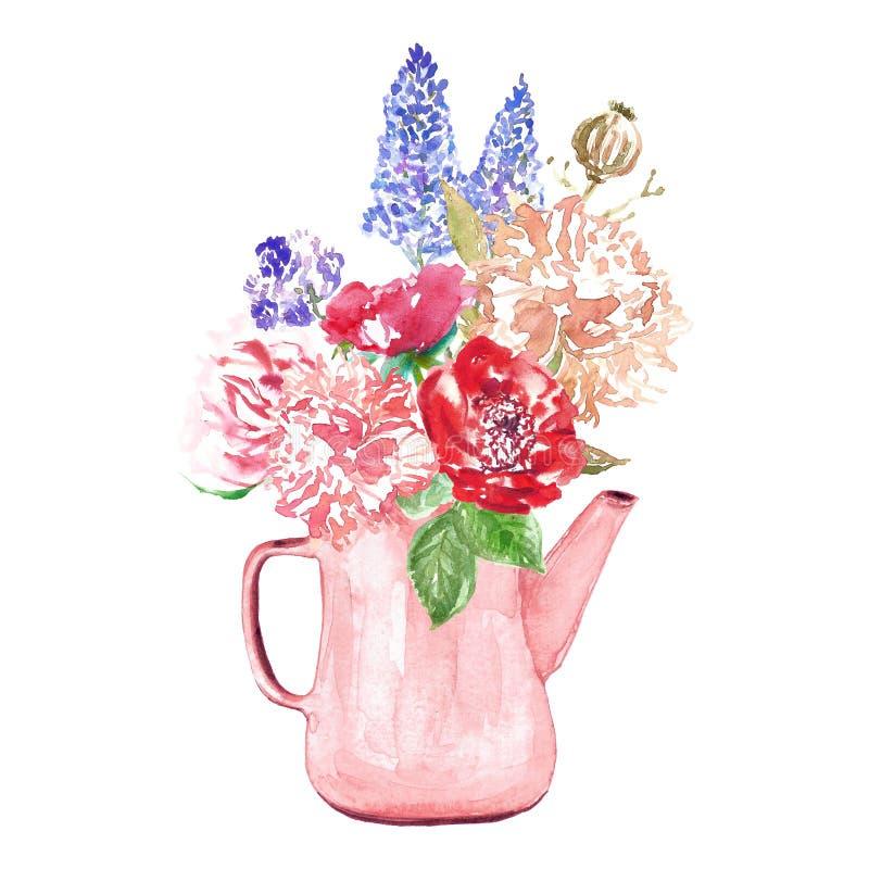 Aquarellblumen stellten Illustration in der Weinleseart ein Blumenstrauß im rustikalen Vase lizenzfreie abbildung