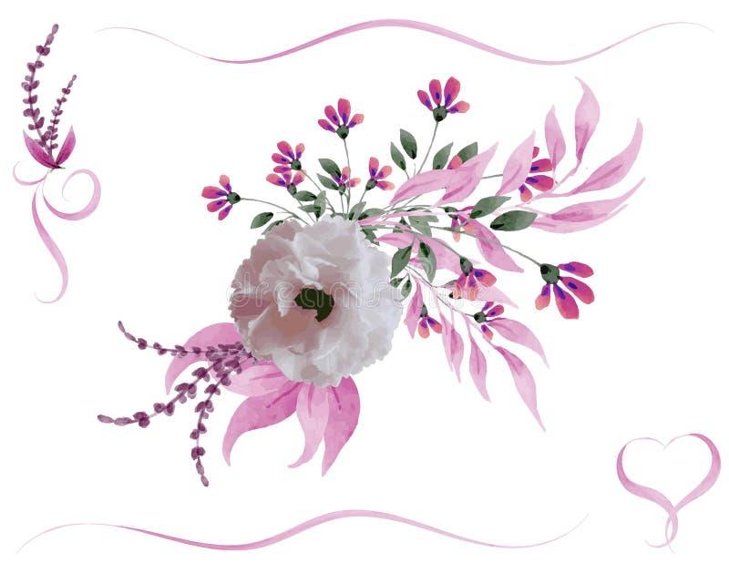 Aquarellblumenblumenstrauß stock abbildung
