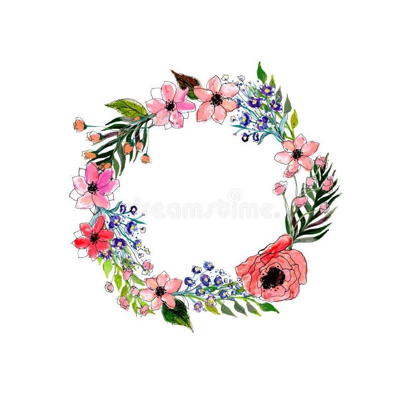 Aquarellblumenkranz stockbild