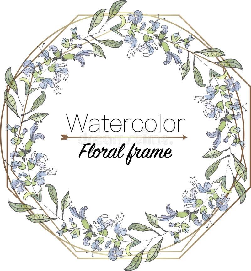 Aquarellblumenkranz mit geometrischem Rahmen, Schablone für Heiratseinladungsvektorillustration lizenzfreies stockbild