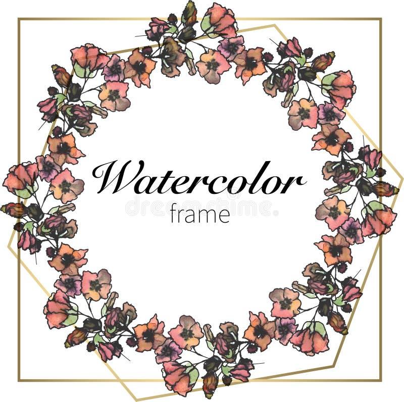 Aquarellblumenkranz, Schablone für Heiratseinladung, speichern die Datumsvektorillustration stockfoto