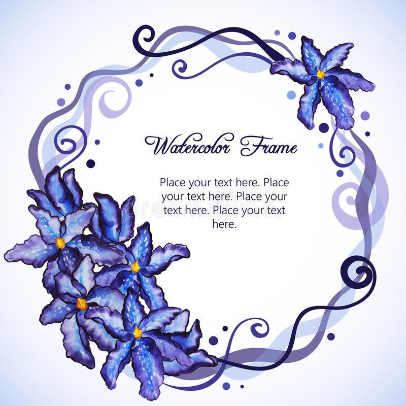 Aquarellblumenrahmen der purpurroten Iris stock abbildung