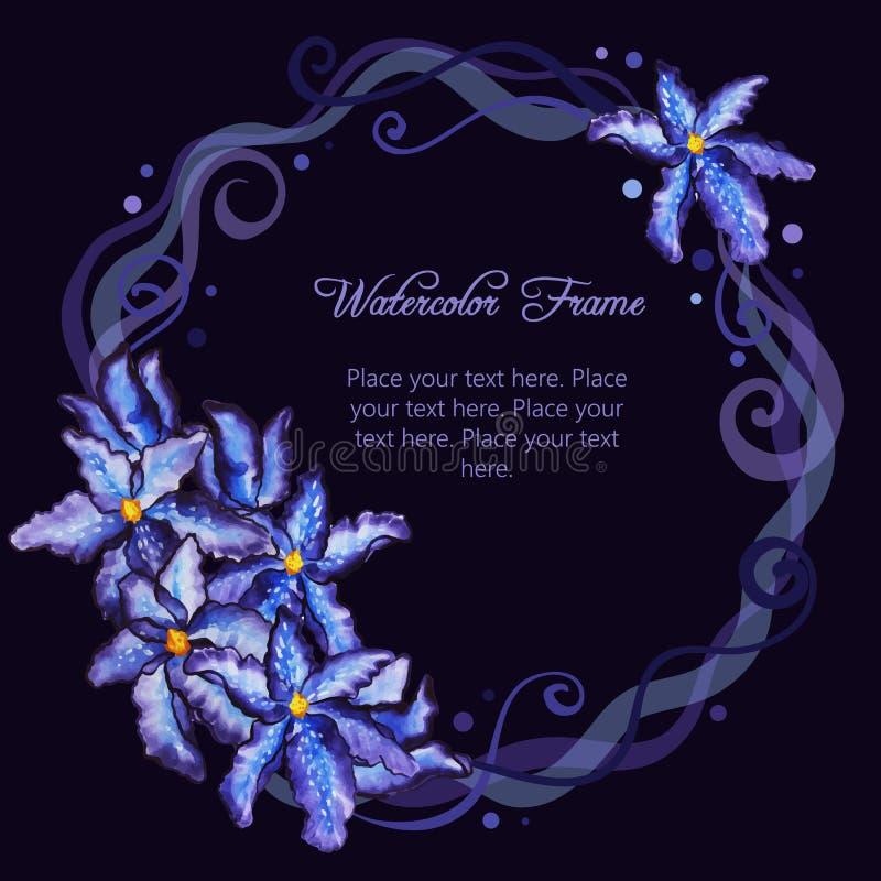 Aquarellblumenrahmen der purpurroten Iris vektor abbildung