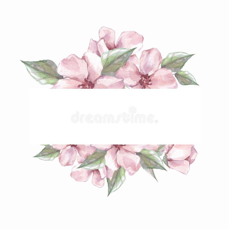Aquarellblumenrahmen Element für Entwurf stock abbildung