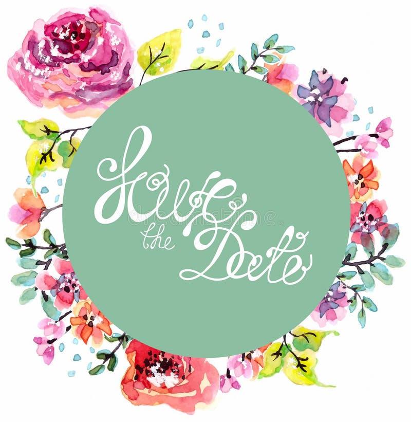 Aquarellblumenrahmen für Heiratseinladung lizenzfreie abbildung