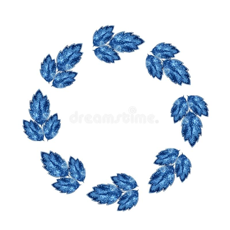 Aquarellblumenrahmen Kranz mit Blättern 2 lizenzfreie abbildung