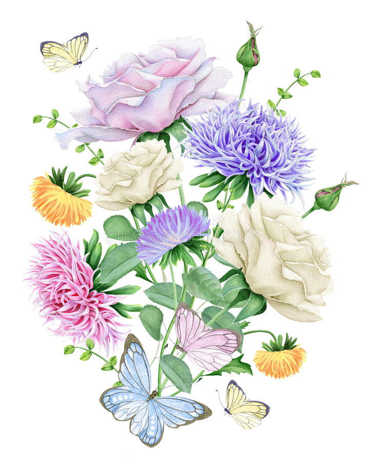 Aquarellblumenstrauß mit Rosen und Astern vektor abbildung