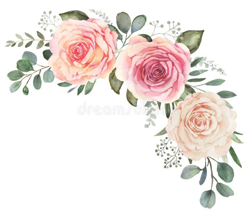 Aquarellblumenstrauß mit Rosen und Eukalyptus stock abbildung
