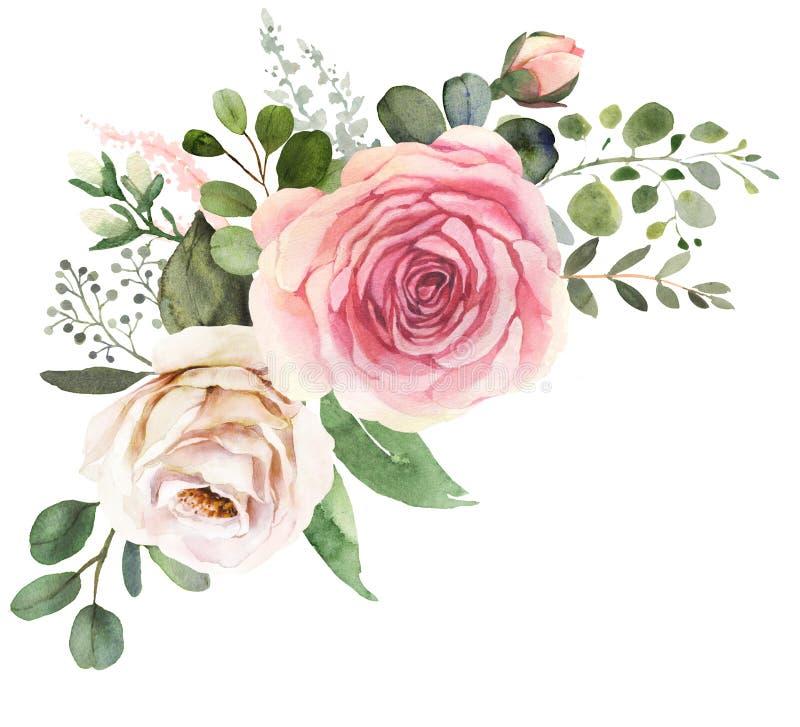Aquarellblumenstrauß mit Rosen und Eukalyptus lizenzfreie abbildung