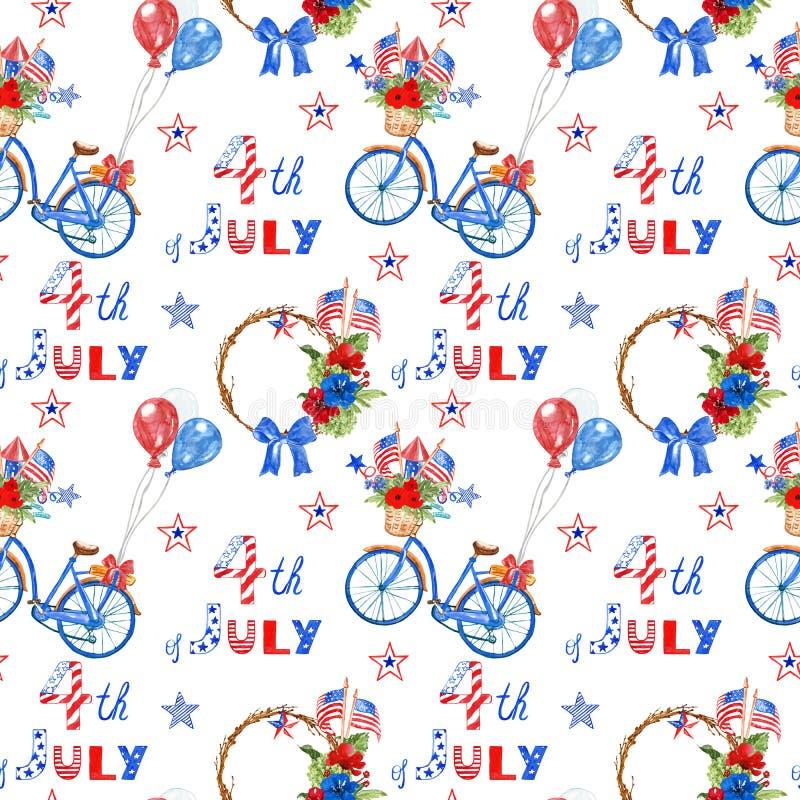 Aquarelle 4ème de modèle sans couture de juillet avec des symboles rouges, blancs et bleus des vacances de la nation américaine illustration libre de droits